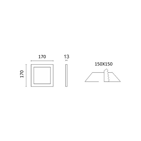 Εικόνα της Φωτιστικό οροφής τετράγωνο panel Led χωνευτό 12watt Ψυχρό λευκό