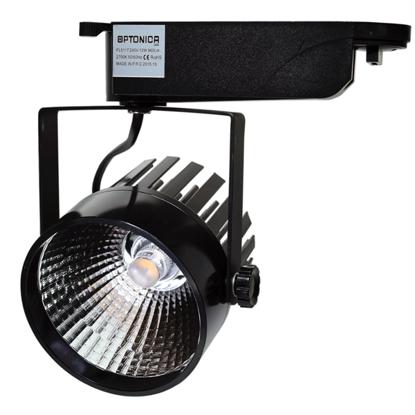 Εικόνα της LED Interior Track Light COB Μάυρο 12W Φυσικό Λευκό