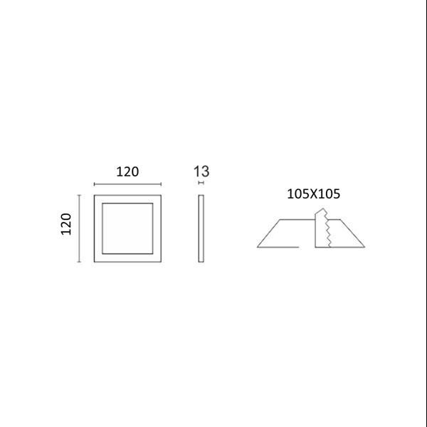 Εικόνα της Φωτιστικό οροφής τετράγωνο panel Led χωνευτό 6watt Θερμό λευκό