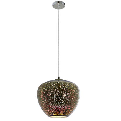 Εικόνα της Φωτιστικό 3D Κρεμαστό από Γυαλί Χρώμιο με Πυροτεχνήματα D400