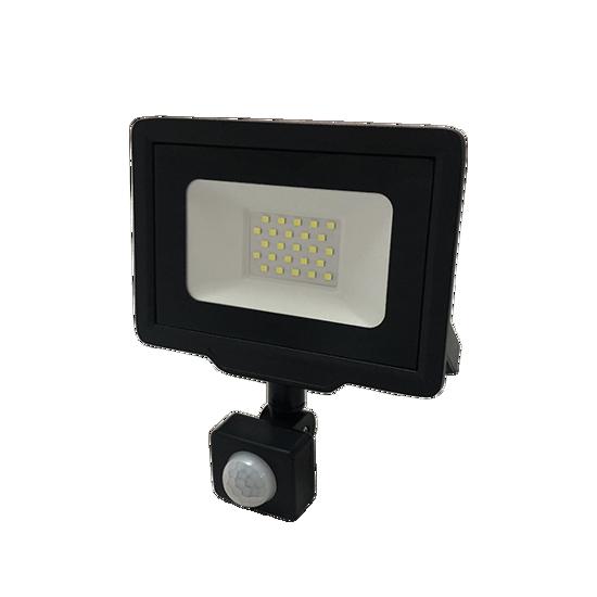 Εικόνα της LED Προβολέας 20 Watt  City Line με Ανιχνευτή Κίνησης Φυσικό Λευκό Μαύρος