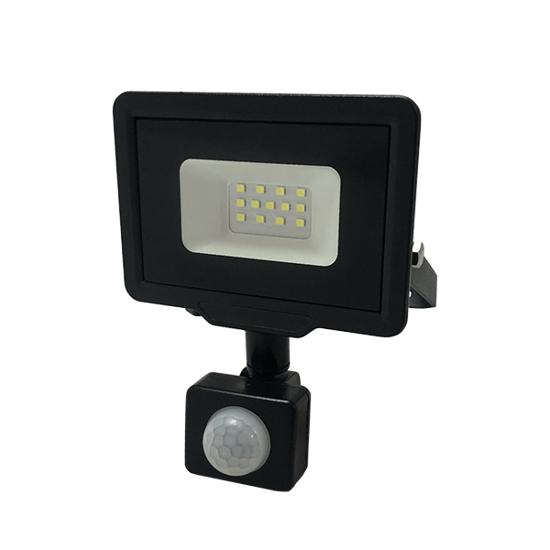 Εικόνα της LED Προβολέας 10 Watt  City Line με Ανιχνευτή Κίνησης Φυσικό Λευκό Μαύρος