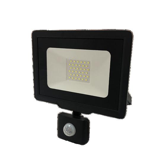 Εικόνα της LED Προβολέας 30 Watt  City Line με Ανιχνευτή Κίνησης Φυσικό Λευκό Μαύρος